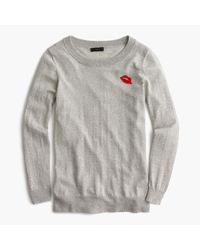 J.Crew | Blue Tippi Sweater With Embroidered Lips | Lyst