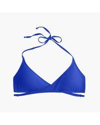 J.Crew - Blue Wrap-front Halter Bikini Top - Lyst