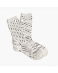 J.Crew | White Trouser Socks In Mini Polka Dot | Lyst