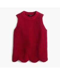 J.Crew - Red Scalloped Knit Sweater Shell - Lyst