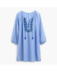 J.Crew | Blue Embroidered Tunic | Lyst