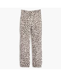 J.Crew | White Ruffle-waist Linen Pant In Leopard Print | Lyst
