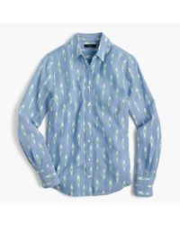 J.Crew - Blue Ikat Perfect Shirt - Lyst