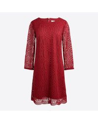J.Crew - Red Three-quarter Sleeve Lace Shift Dress - Lyst