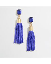 J.Crew - Blue Beaded Tassel Earrings - Lyst