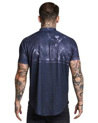 Siksilk - Blue Marble Zip Neck T-shirt for Men - Lyst