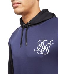 Siksilk - Blue Contrast Sleeve Poly Hoodie for Men - Lyst