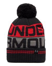 Under Armour   Black Retro Pom 2.0 Beanie Hat for Men   Lyst