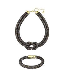 Swarovski | Black Stardust Necklace And Bracelet Set | Lyst