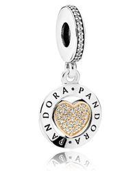 Pandora - Metallic Signature Heart Pendant Charm - Lyst