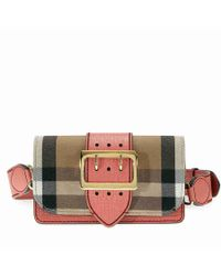 Lyst - Burberry Small Buckle Bag In House Check And Leather d79cf0e0c3