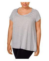 CALVIN KLEIN 205W39NYC - Gray Womens Striped Hi-lo Graphic T-shirt T0c 2x - Lyst