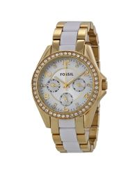 Fossil - Metallic Riley Silver Dial Gold-tone Ss Multifunction Quartz Ladies Watch Es3527 - Lyst