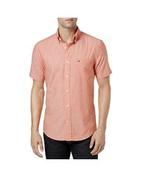 Tommy Hilfiger - Pink Heathered Custom Fit Button-down Shirt for Men - Lyst