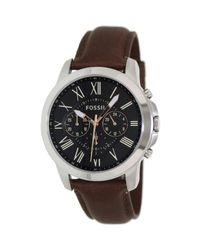 Fossil - Brown Fs4813 Grant Leather Watch for Men - Lyst