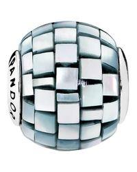 Pandora - Multicolor Balance Blue-grey Mother-of-pearl Mosaic Charm - Lyst