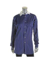 Polo Ralph Lauren - Blue Womens Boyfriend Shirt Striped Long Sleeve Button-down Top - Lyst