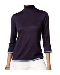 Tommy Hilfiger - Blue Womens Colorblocked Ribbed Trim Turtleneck Sweater - Lyst