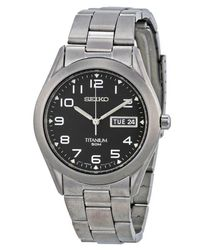 Seiko - Metallic Sgg711 Titanium Black Dial Day Date Casual Analog Watch for Men - Lyst