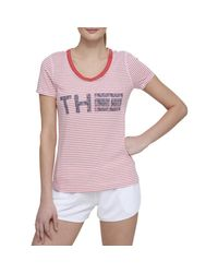 Tommy Hilfiger - Red Striped Graphic Casual Top - Lyst