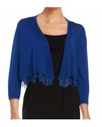 Tommy Hilfiger | Blue Lace-hemmed Cardigan | Lyst