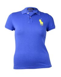 Polo Ralph Lauren - Blue Stitched Logo Polo Shirt (l - Lyst