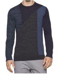 Calvin Klein - Roma Blue Mens 2xl Colorblock Crewneck Wool Sweater for Men - Lyst