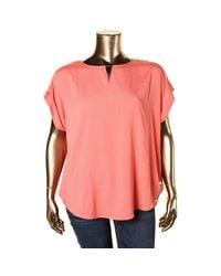 Calvin Klein - Orange Womens Plus Signature Cuff Sleeves Blouse - Lyst