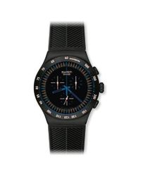 Swatch | In Dark Chrono Black Dial Ss Silicone Quartz Watch Yob103 for Men | Lyst