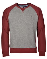 Tommy Hilfiger - Gray Bayview Colorblock Crewneck Sweatshirt Frost Grey And Red Medium for Men - Lyst
