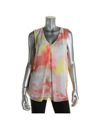 Calvin Klein - Multicolor Womens Polyester Chiffon Blouse - Lyst