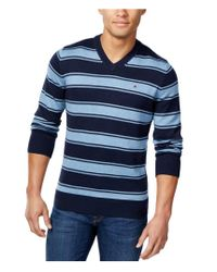 Tommy Hilfiger - Blue Striped Pullover Sweater 416 M for Men - Lyst