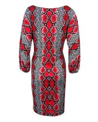 Calvin Klein - Red Boat Neck Snake Print Jersey Dress (4 - Lyst