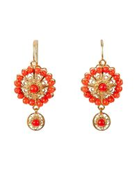 Luis Mendez Artesanos - Red 18kt Gold & Coral Rose Circle Earrings - Lyst