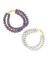 Regenz - Metallic Transformer Pearl Bracelet-necklace - Lyst