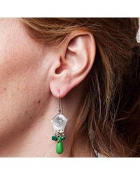 Tinsel - Multicolor Silver And Green Soldier Imprint Earrings - Lyst