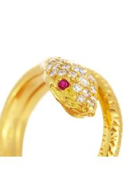 Alexis Danielle Jewelry - Metallic Yellow Gold Diamond Ruby Snake Ring - Lyst