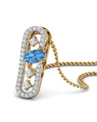 Diamoire Jewels - Metallic Nature Inspired Oval Aquamarine Pendant With Premium Diamonds In 18kt Yellow Gold - Lyst