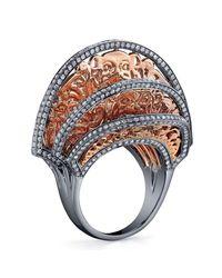 Bochic   Metallic Oriental Pink Gold And Diamond Fan Ring   Lyst