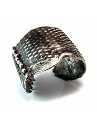 Private Opening - Metallic Large Snake Skin Oxidized Silver Cuff - Lyst