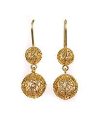 Luis Mendez Artesanos - Metallic 18kt Gold Filigree Two Balls Earrings - Lyst