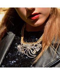 FUCHSIA by Izumi Tahara - Metallic Rhinestone And Fishbone Brass Chain Statement Necklace - Lyst