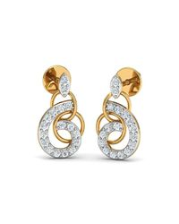 Diamoire Jewels - Metallic Nature Inspired 10kt Yellow Gold And Diamond Luxe Pave Earrings - Lyst