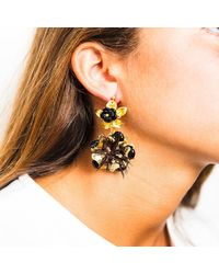 Pats Jewelry | Multicolor Brass & Black Onyx Glossy Camellia Earrings | Lyst