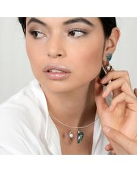 Jan D - Multicolor Earrings With Pearl And Abalone - Lyst