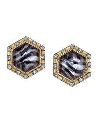 Spencer Fine Jewelry - Multicolor Zebra Pattern Spencer Portrait Stud Earrings - Lyst