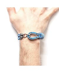 Anchor & Crew - Blue Dash Great Yarmouth Silver And Rope Bracelet for Men - Lyst