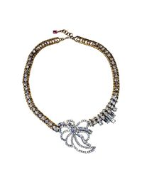 FUCHSIA by Izumi Tahara - Metallic Flower Rhinestone Combination Statement Necklace - Lyst