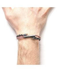 Anchor & Crew - Metallic Red Dash Belfast Silver And Rope Bracelet for Men - Lyst
