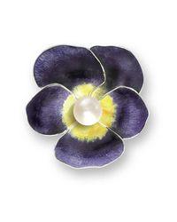 Nicole Barr - Multicolor Silver Pansy Purple Brooch - Lyst